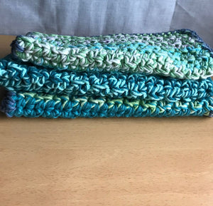 Double Thick Washcloths in Green - Set of 3