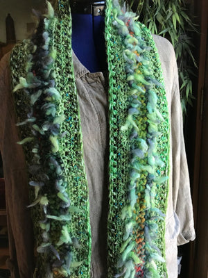 Crocheted Scarf Green Double Fluff Rust Accents