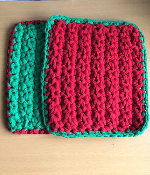 Hot Pad Potholder Set of 2 Heavy Duty Thick Green and Red