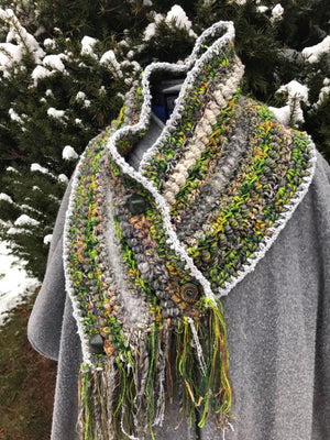 Cowl Neck Warmer Scarf Gray and Moss Green