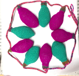 Large Crochet String of Lights magenta and Aqua