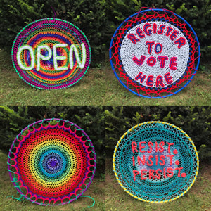 "Hang it!  Wear it! Rally and Protest Sign to wear!  36"" round hula hoop Create your own Sign!"
