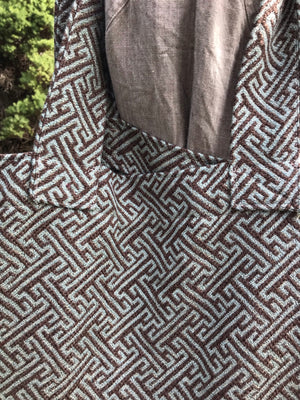 Grocery Market Tote Bag Blue Brown Geometric