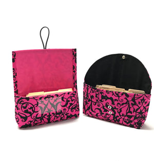 Coupon Organizer Trellis Scroll Hot Pink and Black