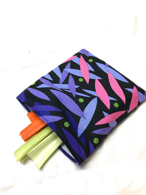 Reusable Sandwich bag Eco Friendly Purple Pink Leaf