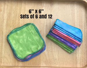 "Reusable Non Paper Towel Set - Small 6"" x 6"" wipes"