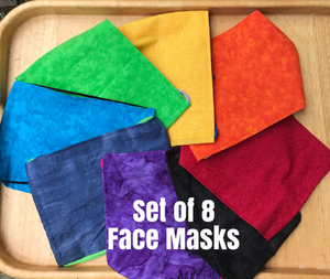 Face Masks Set of 8 in Rainbow of Colors