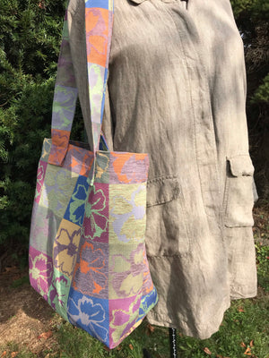Upholstery fabric carry all tote bag florals
