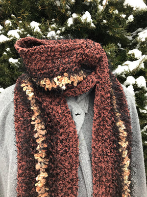 Crochet Scarf Black Brown and Creme Extra Long