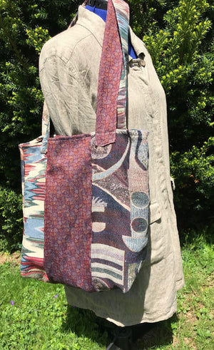 Market Bag Carryall Tote Heavy Duty Upholstery Fabric