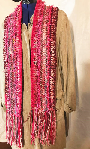 Crocheted Scarf Pink and Burgundy Art Yarns