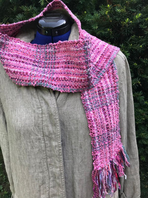 Pink Shimmer Scarf Hand Woven