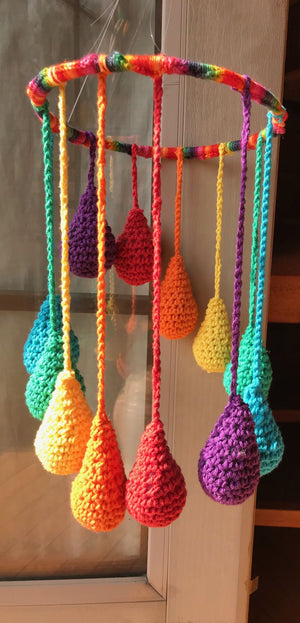 Hanging Mobile Rainbow Raindrops Teardrops