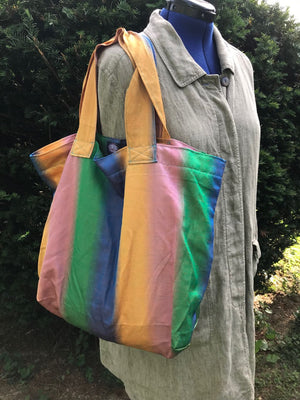 Market Tote Bag Carry All Shimmer Rainbow Vintage Fabric