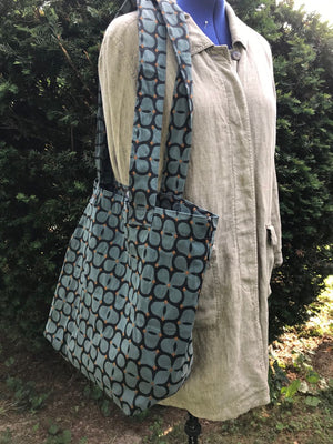 Carry All Market Tote Bag Steel Blue Geometric Floral