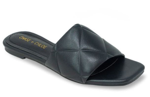 Black Quilted Square Toe Slide