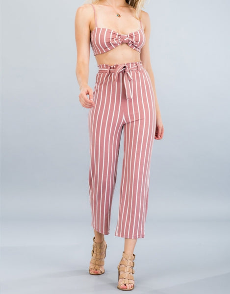 Dressed To The Lines Tie Top Pants Set