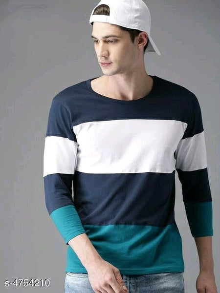 Full Sleeves Striped Green T-Shirt