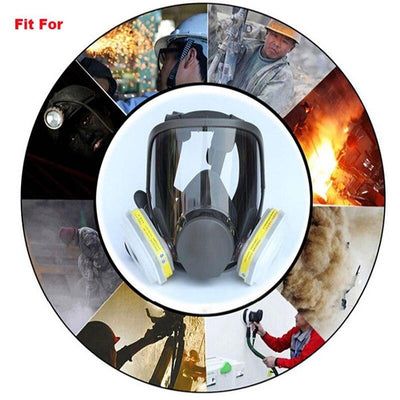 F6800 7 in 1 Gas Mask Full Face Mask for Organic Acid Gas Protection Chemical Spray Formaldehyde Mask Activated Carbon Filters
