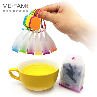 ME.FAM Colorful Jelly Silicone Tea Bag Safe Eco-Friendly Non-Toxic Reusable Tea-Leaves Infuser Filter Herbal Spice Strainer Tool