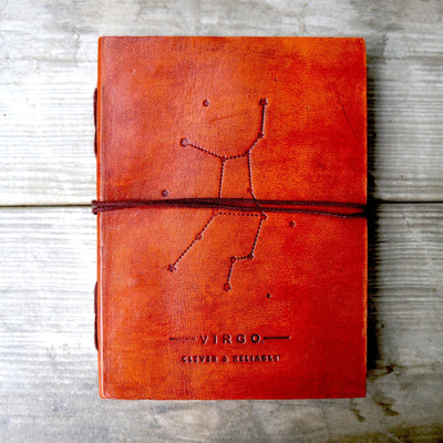 Virgo Zodiac Handmade Leather Journal