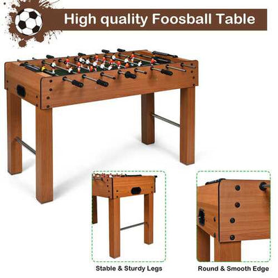 "48"" Foosball Table Indoor Soccer Game-Brown"