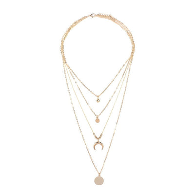 Women Multilayer Choker Horn Long Crescent Moon Pendant Chain Necklace Chain Bohemia Jewelry