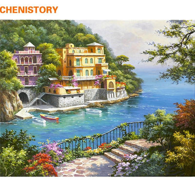 CHENISTORY Pre-Framed Landscape DIY Painting by Numbers Modern Wall Art Picture Acrylic Paint on Canvas for Home Decors Artwork