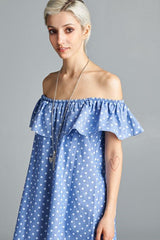 Ariana Dotted Chambray Dress
