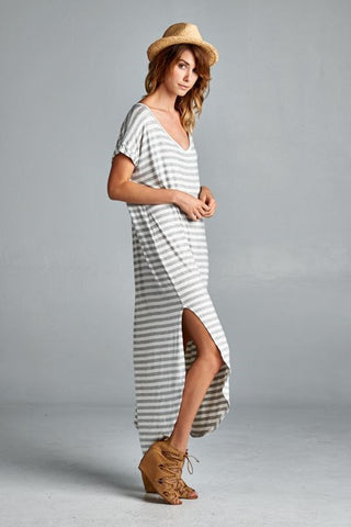 Heather Grey Striped Maxi Dress