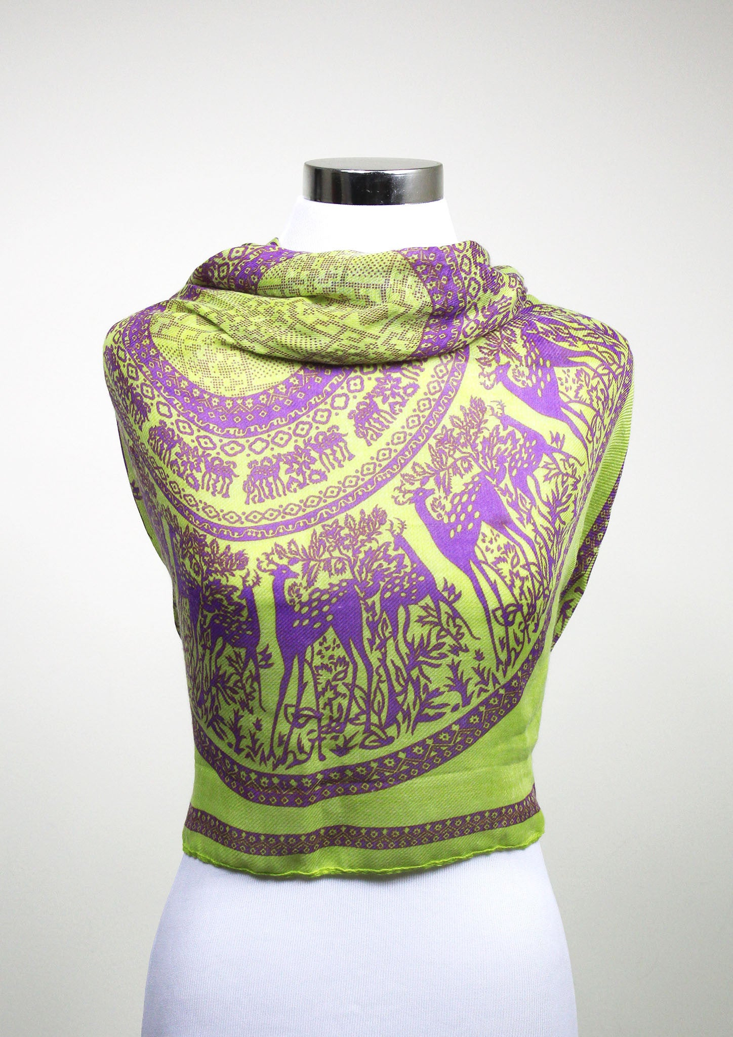 Yellow-Green Deer Scarf