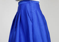 Belle Blue Textured Midi Skirt