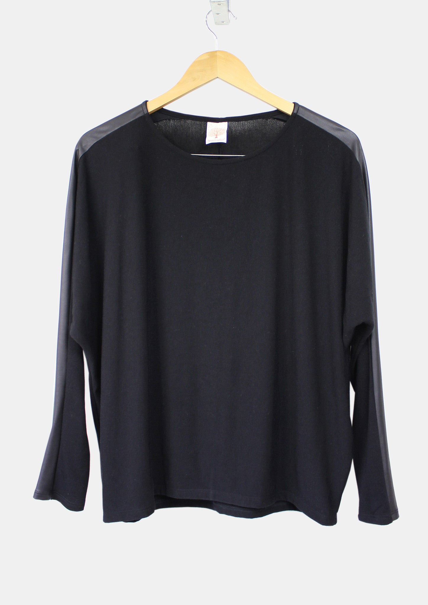Black Dropped-Sleeve Top