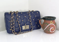 Alice Blue Quilted Double-Chain Bag