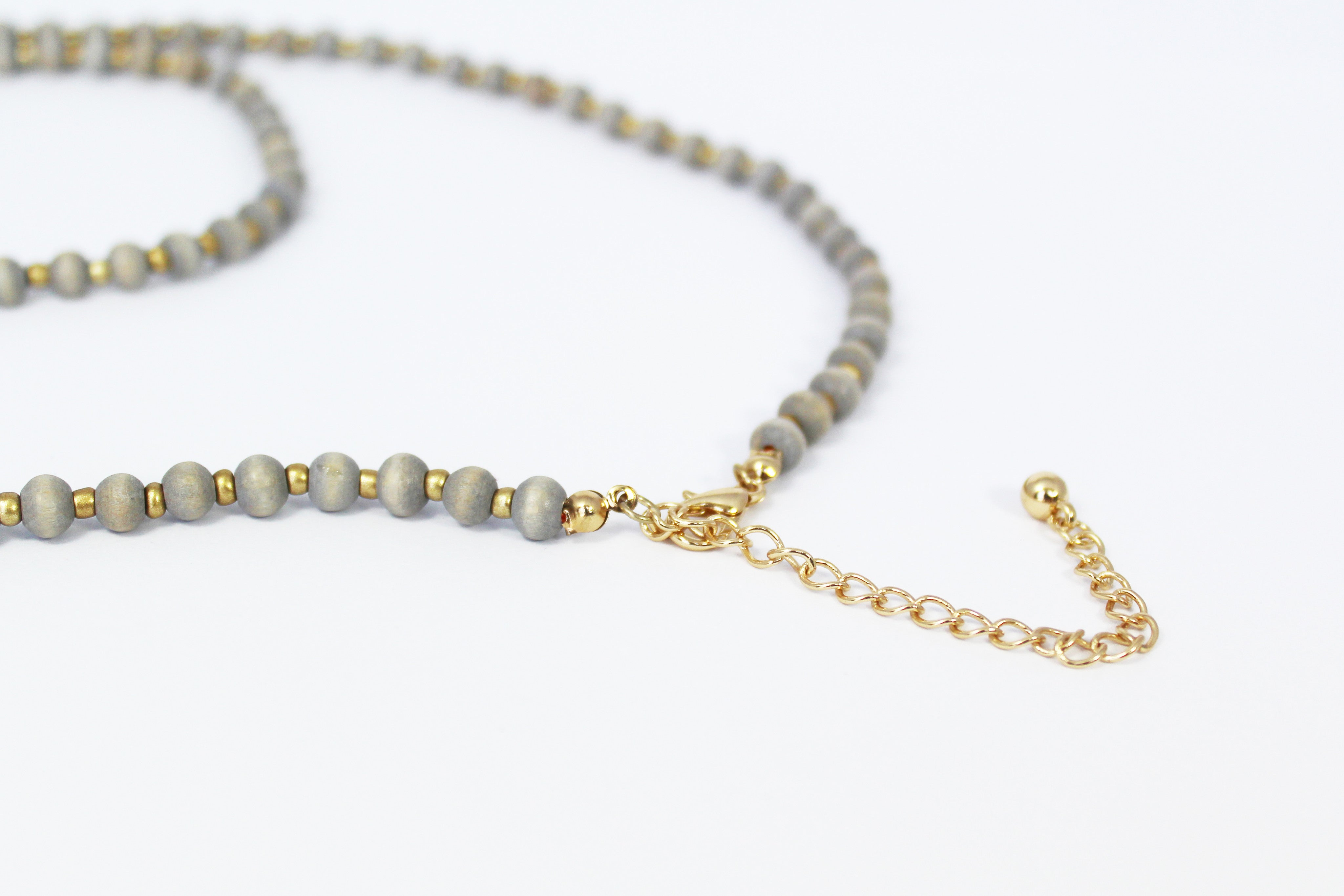 Neutral Gray Bead Necklace