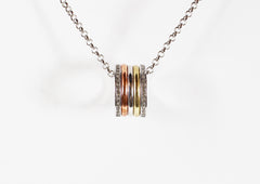 Long Tri-Color Pendant Necklace
