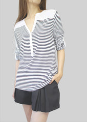 Janet Pleated Stripe Top