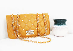 Alice Orange Quilted Double-Chain Bag