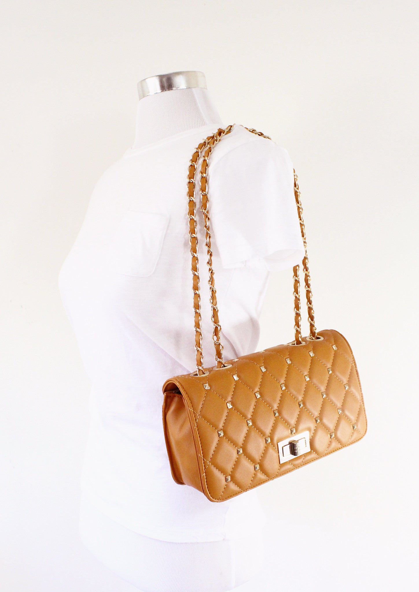 Alice Gray Quilted Double-Chain Bag