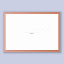 Load image into Gallery viewer, Ambrose Bierce Quote, Ambrose Bierce Poster, Ambrose Bierce Print, Printable Poster, Corporation: An ingenious device for obtaining profi...