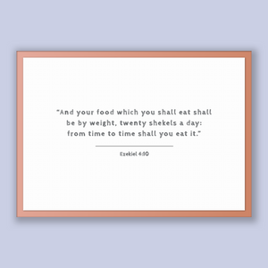Ezekiel 4:10 - Old Testiment - And your food which you shall eat shall be by weight, twenty shekels a day: from time to time shall you ea...