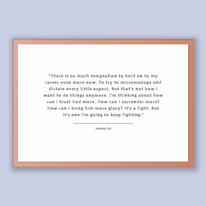 Jeremy Lin Quote, Jeremy Lin Poster, Jeremy Lin Print, Printable Poster, There is so much temptation to hold on to my career even more no...