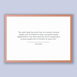 Ron Chernow Quote, Ron Chernow Poster, Ron Chernow Print, Printable Poster, You don't want too much fear in a market, because people will...