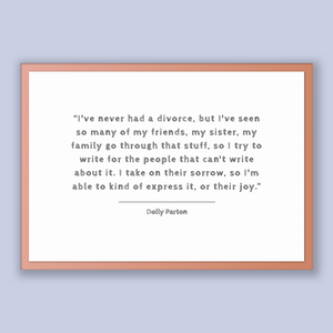 Dolly Parton Quote, Dolly Parton Poster, Dolly Parton Print, Printable Poster, I've never had a divorce, but I've seen so many of my frie...