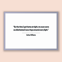 Load image into Gallery viewer, Esther Williams Quote, Esther Williams Poster, Esther Williams Print, Printable Poster, By the time I got home at night, my eyes were so ...