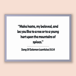 Song Of Solomon (canticles) 8:14 - Old Testiment - Make haste, my beloved, and be you like to a roe or to a young hart upon the mountains...