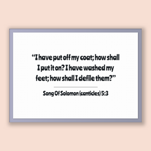 Song Of Solomon (canticles) 5:3 - Old Testiment - I have put off my coat; how shall I put it on? I have washed my feet; how shall I defil...