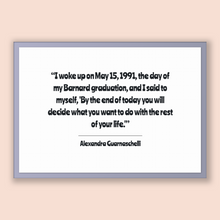 Load image into Gallery viewer, Alexandra Guarnaschelli Quote, Alexandra Guarnaschelli Poster, Alexandra Guarnaschelli Print, Printable Poster, I woke up on May 15, 1991...