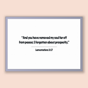 Lamentations 3:17 - Old Testiment - And you have removed my soul far off from peace: I forgotten about prosperity.