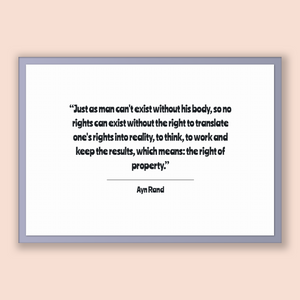 Ayn Rand Quote, Ayn Rand Poster, Ayn Rand Print, Printable Poster, Just as man can't exist without his body, so no rights can exist witho...
